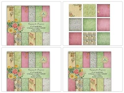 DIY Green leaf style Scrapbooking paper pack of 24 sheets handmade craft paper c