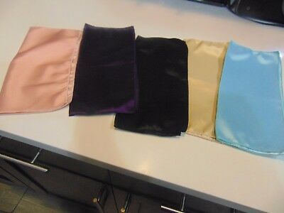 """Lot of 5 Assorted Color Poly Satin Pocket Square 9"""" All New"""