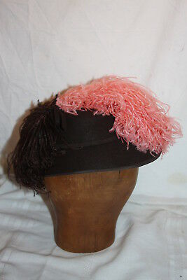 Vintage New York Creations Womans Clouche Felt Hat Ostrich Feathers Brown Pink