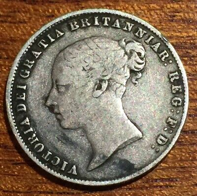 1860 Queen Victoria Silver Sixpence