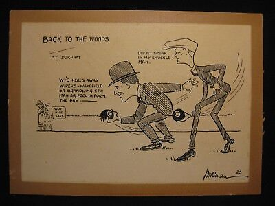 Original 1923 Cartoon. 'Back to the Woods - at Durham'. Signed