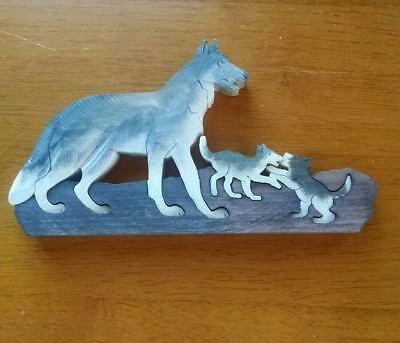Wood Coyote or Wolf and Cubs Scroll Saw Puzzle Sculpture- 4 Piece, Stained