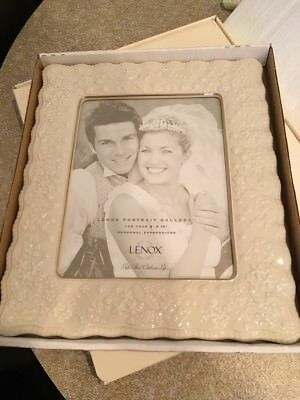 Lenox 8x10 Wedding Promises Ivory Porcelian Picture Frame in box