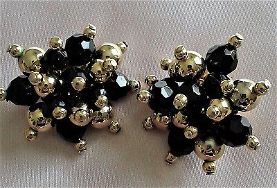 Vintage Costume Jewellery Clip-On Earrings Beaded Black and Gold Collectible