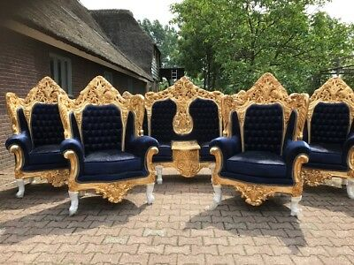 Antique Rococo Throne Set Italian Style: Sofa/couch/settee+4 Chairs (5 Pieces)