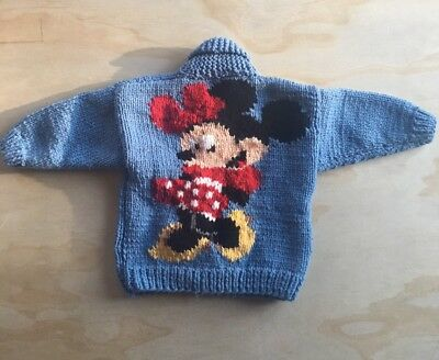 RARE Vtg Disney Hand Knitted Minnie Mouse Sweater Zip Up Cardigan One Of A Kind