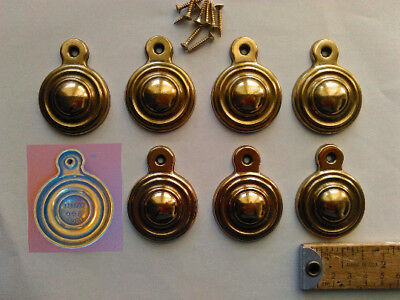 8 Vintage Bed Bolt Covers a Brass Color By Keeler Brass Co. USA With Screws