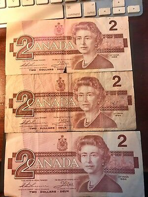 1986 Canada $2 Two Dollar Bill Canadian Currency Bank Note - Lot of 3