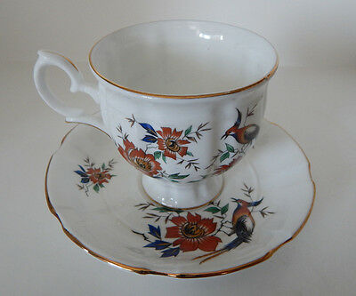 CROWN STAFFORDSHIRE CUP & SAUCER SET FLORAL BIRD PATTERN MADE IN ENGLAND set #84
