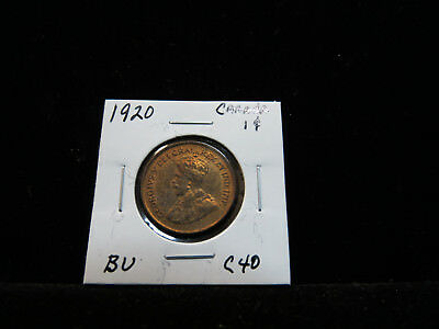 1920 1 Small Cent BU Red Canada