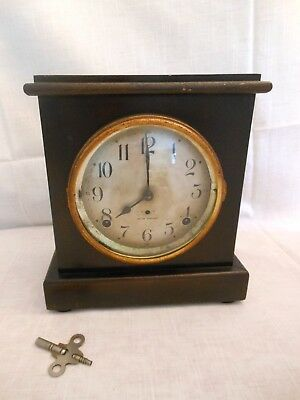 Antique Vintage Seth Thomas Mantel Chime Sentinel #6 CLOCK with Key WORKS!