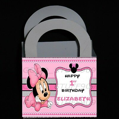 Baby Minnie Mouse 12 Personalized Birthday Small Favors Boxes 3 X 3 X 2 5 Inches