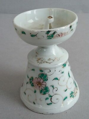 18th c. Porcelain Fat Lamp with Enameled Vines and Flowers