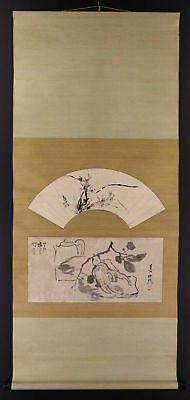 JAPANESE HANGING SCROLL ART Painting Collaboration Asian antique  #E1281
