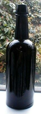 Early Black Glass Applied Top Patent Whiskey Bottle, Dixon & Co.