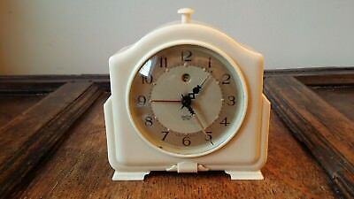 1940's Vintage Electric Alarm Clock Smiths Sectric Art Deco Ivory Bakelite Gwo