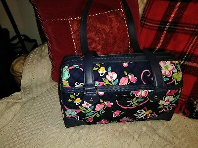 "Vera Bradley large satchel purse in ""Ribbon"" pattern w leather trim ""Rare"" New !"