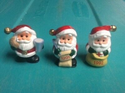 Hallmark Merry Miniatures 1990-1991-1992 Santas 3 Used