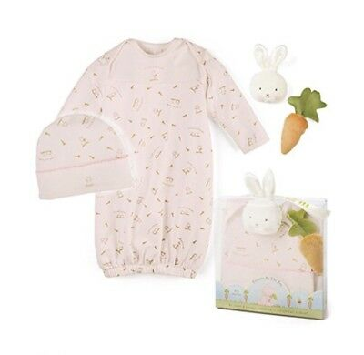 New Bunnies By The Bay Sweet Bun Gown Set 4 Piece Set  0 - 3 M NIP