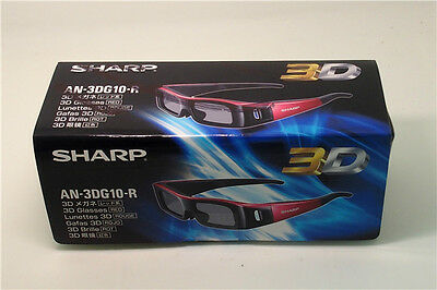 Brand New Sharp AN-3DG10-R Active 3D Glasses 2D to 3D Aquos TV compatible (Red)