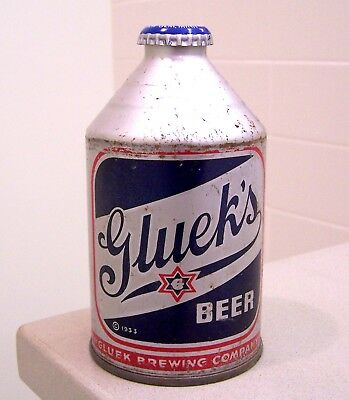 **c. 1940s GLUEK'S blue Silver Growler CMT 4% cone top beer can from MN