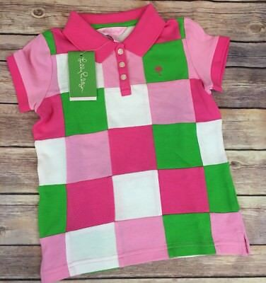 Lilly Pulitzer NWT Size 6 Girls Pink Green Patchwork Polo Top Summer