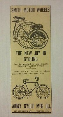 1916 Smith Motor Wheels Bicycle Cycling Ad Army Cycle MFG Co