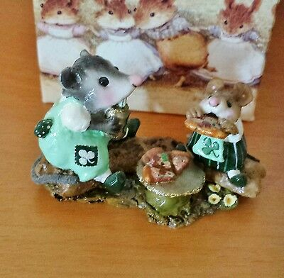 Wee Forest Folk M-244  Possum's Pizza Party   St. Patrick's SPECIAL Mint