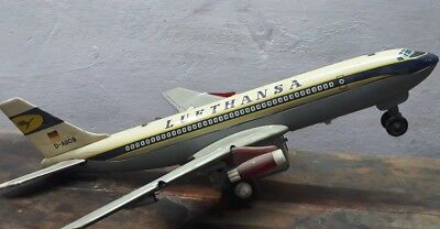 Vintage Original Old Lufthansa Airplane Tin Toy Japan Made Battery Operated