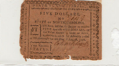 1778 North Carolina Currency- Five Dollars-The Rising States, some tape repairs