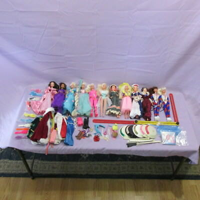 Large Mixed Barbie Doll Lot 50  PCS Doll Stands, Clothes, Accessories, 12 Dolls