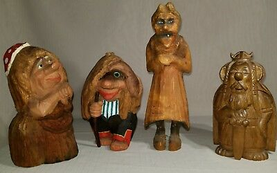 Vintage Norway Troll Hand Carved Figure Lot Of 4 mark made in Norway