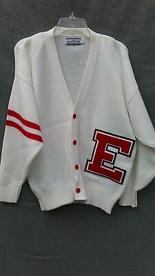 Letter E Letterman Cardigan Boyfriend Sweater Unisex White and Red VINTAGE? USA