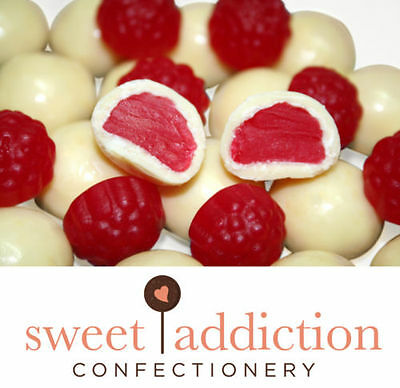 1kg Premium White Chocolate Covered Red Raspberries - Bulk Lolly Candy Buffet
