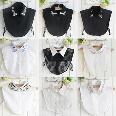 Women Ladies False Collar Fake Half Shirt Blouse Vintage Detachable Cotton Bib
