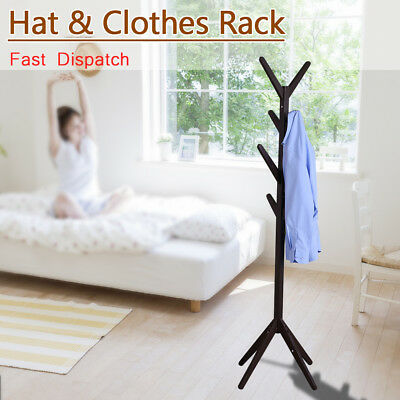8/12 Hooks Wood/Metal Tree Coat Hat Rack Stand Holder Bag Umbrella Cloth Hanger