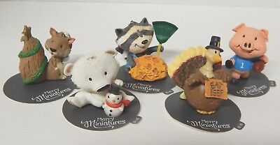 Hallmark Merry Miniature 2015 Figurine Lot raccoon turkey pig bear squirrel NEW