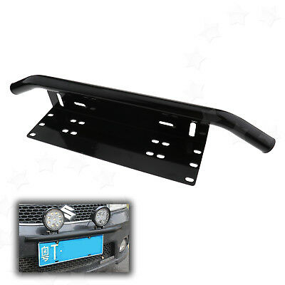 Bull Bar Front Bumper License Plate Mount Bracket Holder Offroad Jeep Light Bar
