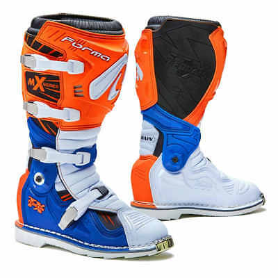 Forma Terrain TX motocross boots, pivot tech blue orange motorcycle offroad mx