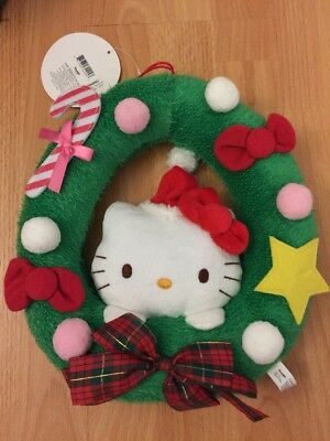 2011 Japan Sanrio Vintage Hello Kitty Christmas Ornament Wreath Plush Trinkets