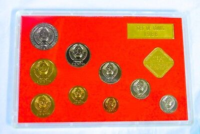 1988 SOVIET RUSSIA 9 COIN LENINGRAD MINT SET Complete With Holder Case