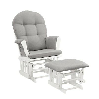 Nursing/Rocking Chair Windsor Glider and Ottoman set, White with Gray Cushion