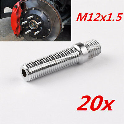 20pcs 58mm Extended Wheel Stud Conversion 12x1.5 to 12x1.5 Screw Adapter Bolts