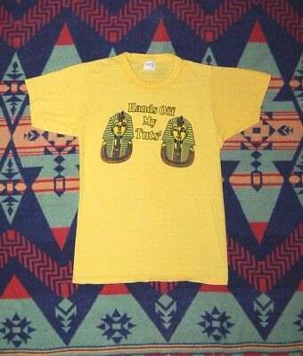 Vtg 70's 80's King Tut Shirt Keep Your Hands Off My Tuts Crazy Egypt Punk Small