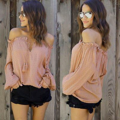 Hot Women Off shoulder Casual Long Sleeve Tops Shirt Ladies Loose T-shirt Blouse