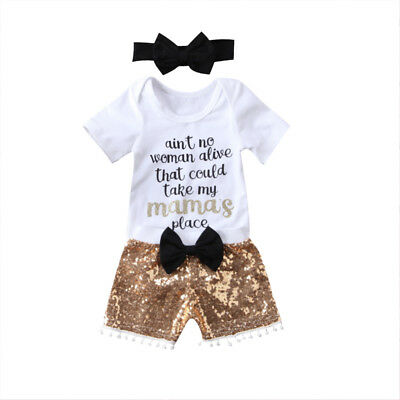 Newborn Kids Baby Girl Boy Sequins 3pcs Outfit Romper Pants Clothes Set Jumpsuit
