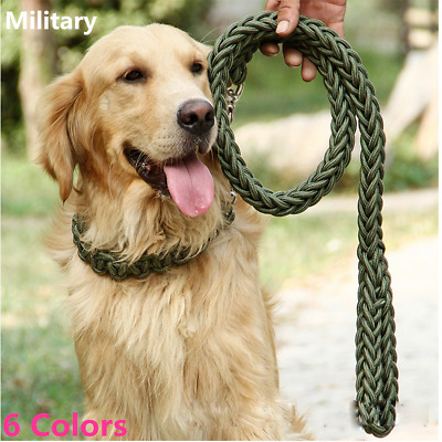Heavy Duty Strong Durable Dog Leashes Braid Thick Lead Rope Medium Large Breed
