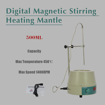 Electric Digital LCD Magnetic Stirring Heating Mantle 842℉ 250W 0-1400prm 500ml