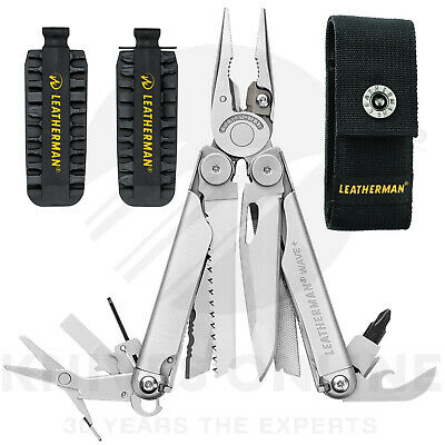 New Latest 2018 Leatherman Wave Plus + Stainless Multitool + Sheath + 42 Bit Kit