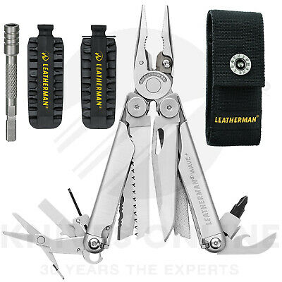 Latest 2018 Leatherman Wave Plus + Multitool + Sheath + 42 Bit Kit + Extender